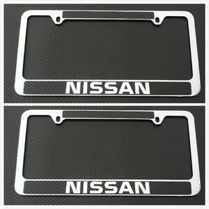 2xstainless Steel Chrome License Plate Frame Holder Screw Carbon Fibe For Nissan