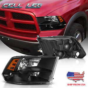 For 2009 2018 Dodge Ram Pickup Black Housing Amber Side Quad Headlight lamp Set