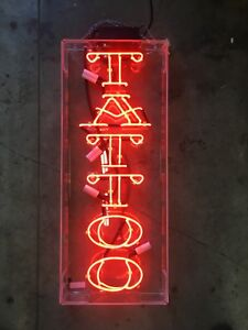 Double Stroke Red Tattoo Neon Sign 13 Tall X 32 Wide X 3 Deep