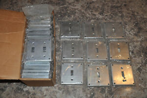 26 Double And 9 Single Bowers 4 Inch Square Toggle Switch Covers Nos