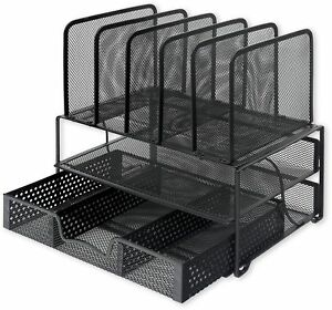 Simplehouseware Mesh Desk Organizer With Sliding Drawer Double Tray And 5