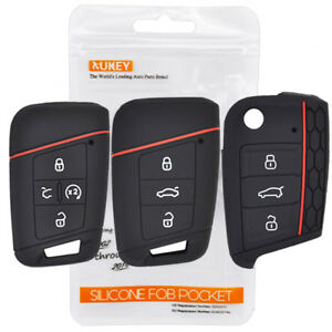Silicone Remote Car Key Case For Vw Atlas Tiguan Skoda Octavia Seat Fob Cover