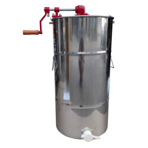 2 Frame Stainless Steel Honey Extractor Beekeeping Equipment Silver 15 7 X 30