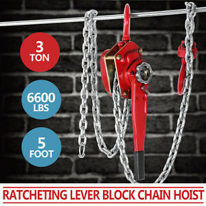 3ton 5ft Ratcheting Lever Block Chain Hoist Come Along Puller Pulley Hq
