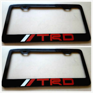 2x Stainless Steel Trd Red License Plate Frame Holder Screw Cap