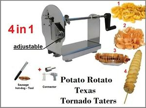 Potato Rotato Texas Tornado Taters Ribbons Spiral Potato Cutter Slicer Twister