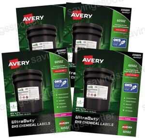 400 Ct Avery 60502 Ultra Duty Ghs Chemical Labels 4 3 4 X 7 3 8 Laser 4 Pack