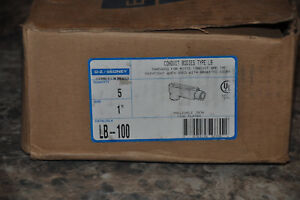 Box Of 5 New O z gedney Lb 100 1 Conduit Bodies Condulet Malleable Iron