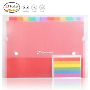 Multi Colored Expanding File Folders 13 Pockets A4 Accordion Document Organizer