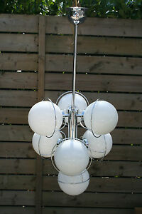 Retro Mid Century Chrome 7 Opaline Glass Globes Sputnik Atomic Chandelier 70 S