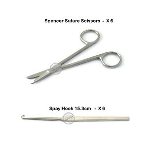 X12 Surgical Scissors Suture Spay Hook Ovaries Removal Veterinary Instruments Ce