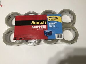 Scotch Heavy Duty 3m Clear Shipping Packing Tape 8 Rolls Total 436 Yd 400 M New