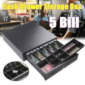 5 Bills 8 Coins Manual Cash Box Drawer Register Money Insert Storage Tray Kits