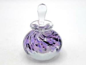 Beautiful Art Glass Perfume Bottle With Dauber Stopper Purple Speckles Signed