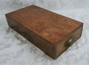 Antique 19th Century Oak Wood Cash Drawer Box Brass Handle