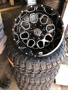 20x12 Dw14 Diablo Offroad On 33 12 50r20 M t Tires Black And Milled Finish Fuel