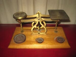 Vintage Avery Postal Scale 3 Weights 4 1 1 2 Oz Wood Brass Made In England