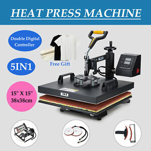 15x15 5in1 Digital Transfer Sublimation Heat Press Machine T shirt Mug W Gloves