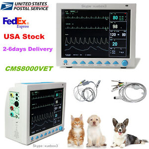 Pet Vet Veterinary Patient Monitor 6 Parameter ecg nibp pr spo2 temp resp usa Ce
