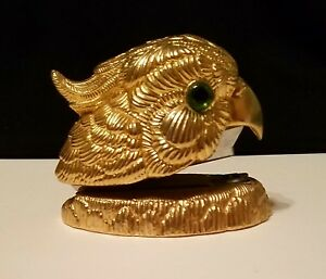 Rare Brass Parrot Stapler Green Glass Eye Works Vintage