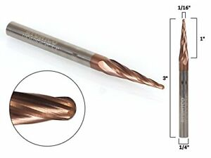 Yonico 37412 sc 1 16 4 Flute Taper Spiral Zrn Coated Cnc Router Bit With 1 4