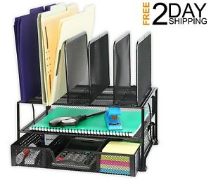 Mesh Desk Organizer W Sliding Drawer Double Tray 5 Upright Sections Quality