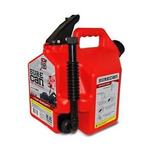 Surecan Gas Can Plastic 2 2 Gallon Flexible Rotating Nozzle Self Venting Durable