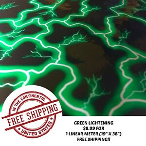 Hydrographic Water Transfer Hydro Dipping Dip Film Green Lightening 1m 19 x38