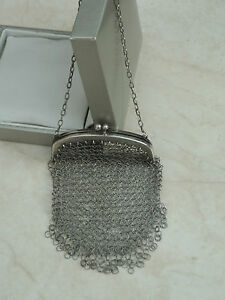 Gorgeous French Antique Art Deco Sterling Silver Mesh Evening Bag Purse Paris