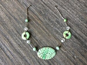 Chinese Antique Green Jade Necklace In Art Deco Silver Chain And Glass Beads