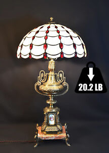 Vintage 1950 Lamp Solid Brass Veined Marble Stained Glass Shade Pull Cord Switch
