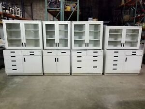 Lot 14 Feet Lab Crafters Base Cabinets W drawers Wall Cabinet Casework