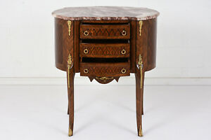 French Louis Xvi Style Small Commode Mahogany Inlaid Marquetry Brass Details