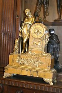 Antique French Marble Gilded Figural Bronze Mantel Clock C 1880 Stunning