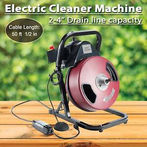 1 2 Inch By 50 Feet Electric Drain Cleaner Drum Auger Snake