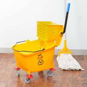 Janitor 36 Qt Yellow Mop Bucket Side Wringer Combo With New Mop Head And Handle