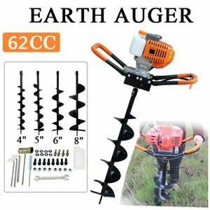 Portable 62cc Gas Powered Post Hole Digger Earth Auger Ground Fence Drill Bit Ma