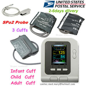 Usa Hot digital Lcd Blood Pressure Monitor color Lcd Display 3 Cuff spo2 Probe