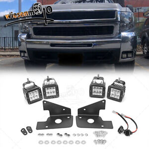 For 09 14 Chevrolet Silverado 1500 2500 72w Led Fog Light Pod Hidden Bumper Kit
