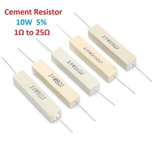 10w Wirewound Cement Resistor Ceramic Tolerance 5 1 Ohm 2 5 8 10 15 20 25 Ohm
