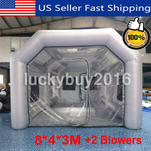 Inflatable Giant Car Workstation Spray Paint Booth Tent 8 4 3m Grey