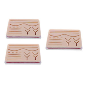 3pcs Medical Suture Training Kits Human Traumatic Skin Suture Practice Pads