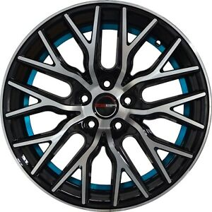 4 Flare 18 Inch Black Machined Blue Undercut Rims Fits Toyota Camry V6 2012 2018