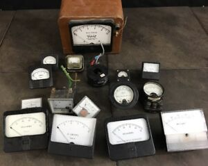 15 Vintage Lot Meters Westinghouse Simpson Triplet Volts Dc Amperes Steampunk