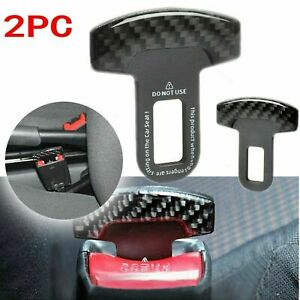 2x Carbon Fiber Safety Seat Belt Buckle Insert Alarm Stopper Eliminator Clip