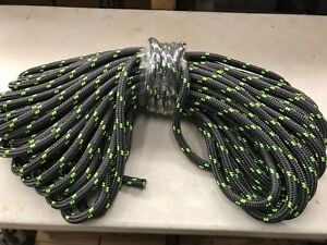 Double Braid Polyester 3 4 x200 Ft Arborist Rigging Tree Bull Rope Charcoal lime