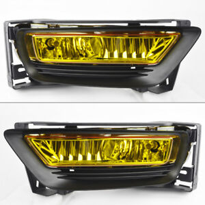 Yellow Front Glass Fog Lights Pair W Wiring For Honda Accord 2013 2015 4dr Sedan