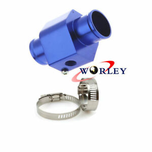 Universal 30mm Water Temp Gauge Joint Pipe Sensor Radiator Hose Adapter Blue