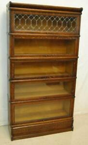 Macey Oak Barrister 5 Section Bookcase With Leaded Glass 62 1 2 H X 34 W X 11 D