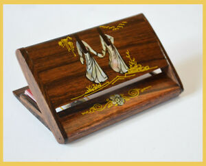 Stylish Wood Shell Painted Business Card Holder Card Wallet Case Organizer
